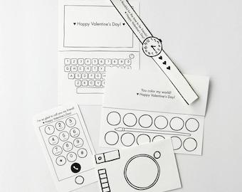 Printable Set of 5 Kids Valentine's Day cards - Classroom valentines - Preschool valentines crafts for kids pretend Play