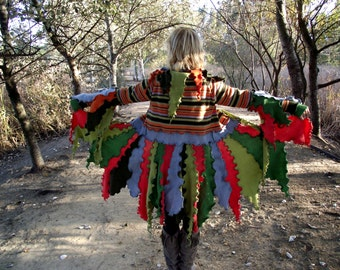 Elf Coat Sweater Coat Upcycled Recycled jersey wool fabrics Pixie coat Fairy coat