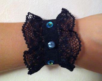 Cuff Bracelet blue beads