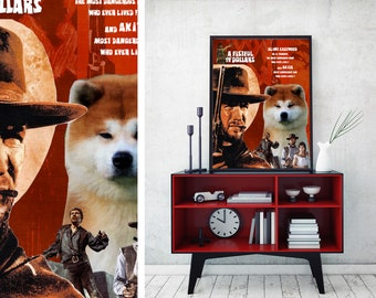 Akita Inu Art Akita Dog A  fistful of dollars Vintage Style Movie Poster Giclee Print  or Canvas Print Wall Art Gift for Her Gift For Him