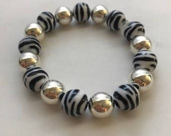 Zebra and Silver Stretch Beaded Bracelet, Gift for Her