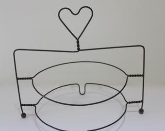 Vintage Primitive Wire Double Pie Stand With Heart On Top 1950s