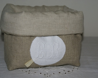 Fabric basket Organizer quilted linen and Monogram GR