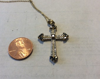 Vintage sterling silver gold plate sapphire cross necklace bacn