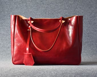 Leather Tote Bag - BELLA Ferrari Red – Shoulder Bag, Leather Purse, Laptop Bag Women, Custom Tote Bag,  Leather Laptop Bag