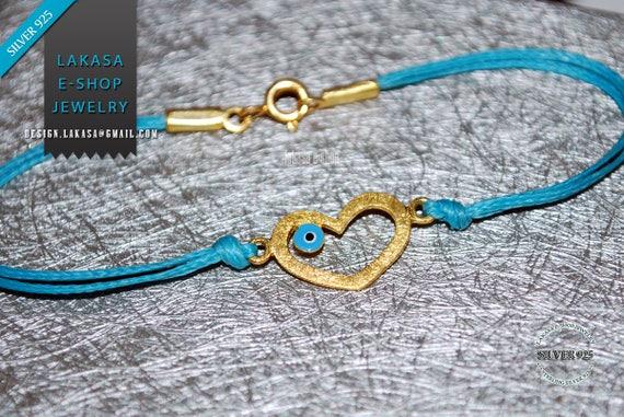 BabyBoy Bracelet Heart Enamel Blue Eye Sterling Silver 925 Gold plated Handmade Jewelry Unisex Boy Girl Gift Birthday Baptism HappyShowerDay