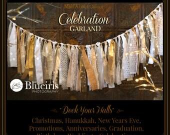 GoLD IVoRY CeLeBRaTiON BaNNeR Elegant Fabric Fringe Garland SHaBBY CHiC BLiNG Christmas PHoTO PRoP New Years PaRTY DeCOR Wedding BackDrop