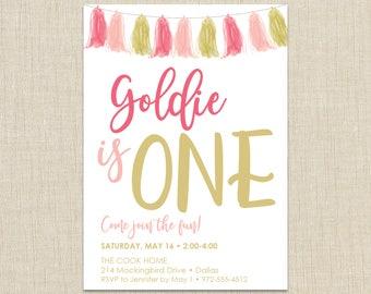First Birthday Invitation Girl. First Birthday Invitation. Pink and Gold Invitation