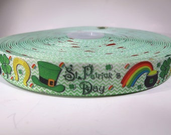 "5 yards of 1 inch ""Happy St. Patrick's day"" grosgrain ribbon"