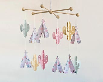cactus mobile, cactus nursery, boho BABY MOBILE, boho nursery decor, boho baby nursery, tribal crib mobile, tribal new born modern baby gift