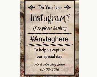 Vintage Instagram Photo Sharing Personalised Wedding Sign