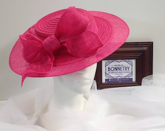 Hot Pink Straw and Sinamay wide brim Boater