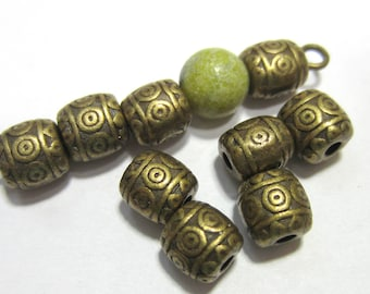30 Bronze beads metal antique bronze beads 6mm x 6mm  F0888 lead free, nickel free jewelry supply (Z6)