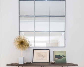 Window Pane Wall Mirror with Antiqued Silver Metal Frame W:118cm