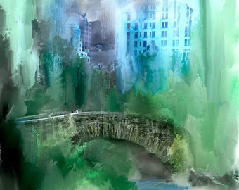 Art,Photography,Wall Art, Green, Blue,Home Decor, Fine Art Print, Manhattan, Central Park Bridge, New York City, NYC, New York Art, New York