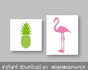 PINEAPPLE and FLAMINGO wall art-Instant Download-Set of three (2). Pineapple Printable. Flamingo Printable. Pink Lime Wall Art Printable.
