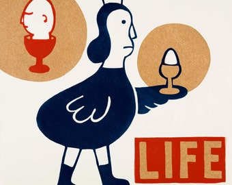 LIFE / hand printed woodcut and collage / limited edition