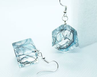 Black and Teal yarn in a cube earrings