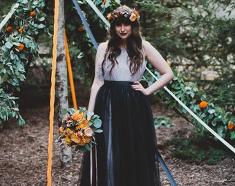 Wedding Skirt Black Tulle Maxi/Full Length Featured on Green Wedding Shoes