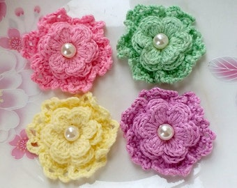 On Sale - 4 Crochet Flowers With Pearls  YH-255-01