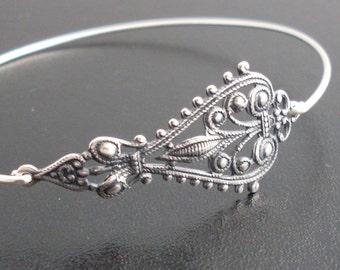 Bohemian Bangle Bracelet, Silver Bohemian Jewelry, Gypsy Jewelry, Gypsy Bracelet, Silver Bohemian Bracelet Bangle - Maylana