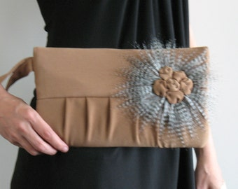 Wristlet clutch - handmade evening bag - pleated wristlet  in camel color - bridesmaid purse - small purse - fashion purse - fabric bag