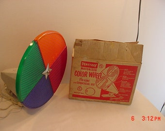 Vintage Working Penetray Motorized Color Wheel For Aluminum Christmas Tree In Original Box18 -975-