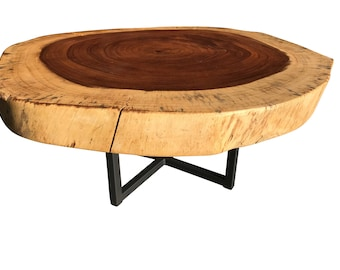 Live Edge table exotic coffee table, Live edge with steel base, Live edge slab table, in stock ready to ship