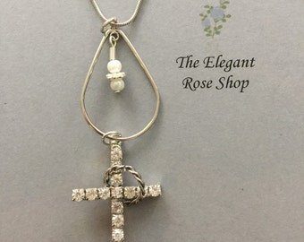 Religious Charm Necklace with Rhinestone Ring Cross great for Wedding, Anniversary, Engagement