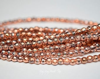 4MM, Copper Ore Etched, Round Druks, Czech Glass Beads - 50 Beads