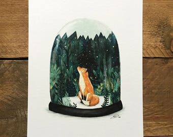 SNOW GLOBE FOX // Signed A4 print