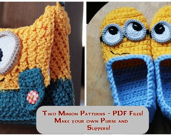 Crochet PATTERNS - Slippers and Purse   Instant Download
