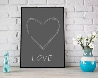 Grey heart print, Hart Love print, Love Heart print, Love wall art, Instant download , Printable art, Grey white print, Grey love print