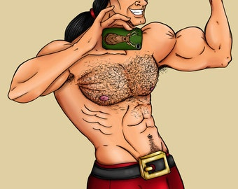 Selfie Gaston Beauty and the Beast A4 Art Print by Hungry Designs