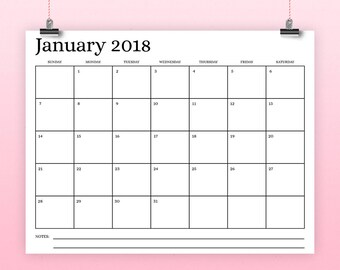 """8.5x11 Inch 2018 Calendar Template 