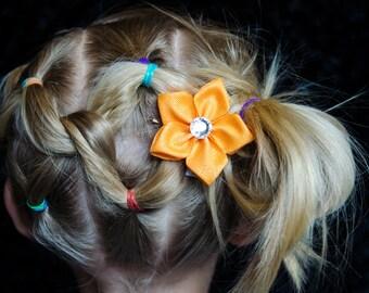 Hair Bow - Orange Glitter Grosgrain 5 Petal Hair Flower