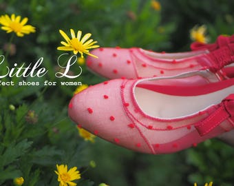 Red Polka Dot Women Shoes With Red Ribbon Customize Color Heels Or Flats