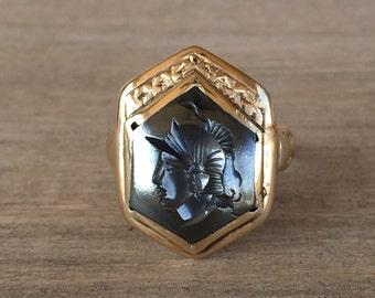Hexagonal hematite centurion intaglio ring