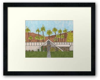 Palm Springs Mid-Century Modern Swiss Miss Framed House Portrait