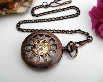 Premium Copper Pocket Watch, Watch Chain, Mechanical Watch, Engravable, Men's Watch, Groomsmen Gift, Gift Boxed - Item MPW162