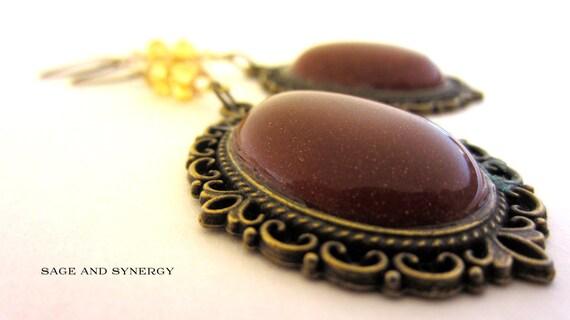 Handmade Red Goldstone Earrings Glitter Copper Oval Filegree