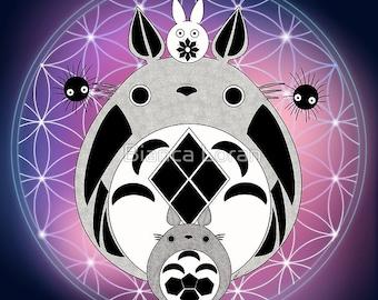 "Totoro of Life Art Print - 8""x10"" or 11x14"" - original anime manga ghibli Miyazaki - Bianca Loran Art"