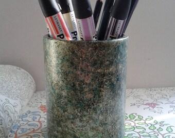 Ash Iridescent Green and gold Pen Pot E272