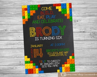 Building Blocks Invitation / Birthday Invitation / Chalkboard Invitation / Colorful Blocks Birthday Invitation / Digital File