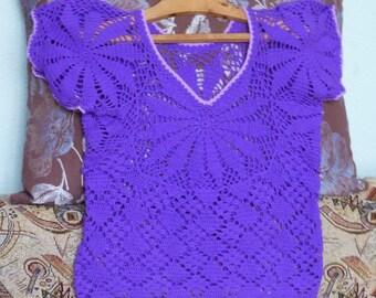 Beautiful Crochet Blouse Women Blouse Vintage Openwork Violet Purple Handwork Croshet S Size Transparent T-Shirt Ukrainian Unusual Top