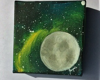 Full Moon Lunar Galaxy Star 4x4 Acrylic Painting