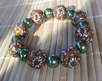 Gold Kaleidoskop klobige Perlen Armband Stretch - einstellbare Schmucksachegeschenk für Mama Lehrer Frau Freundin Geburtstag Prom