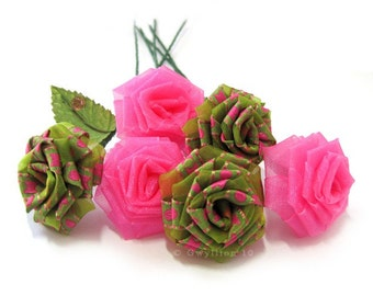 Lime Green and Pink Swirl Rose Bouquet