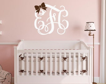 Monogram Wall Decal Personalized Initials Vine Font Monogram Wall Decal with Bow Vinyl Wall Decal Vinyl Lettering Monogrammed Wall Decal