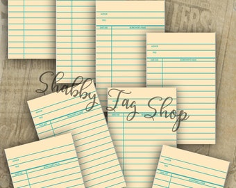 Library Cards/ junk journal tags Instant download